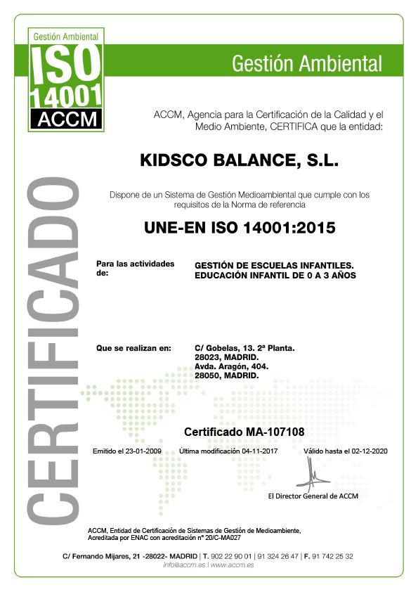 Kidsco - Certificado de Medio Ambiente ISO 14001