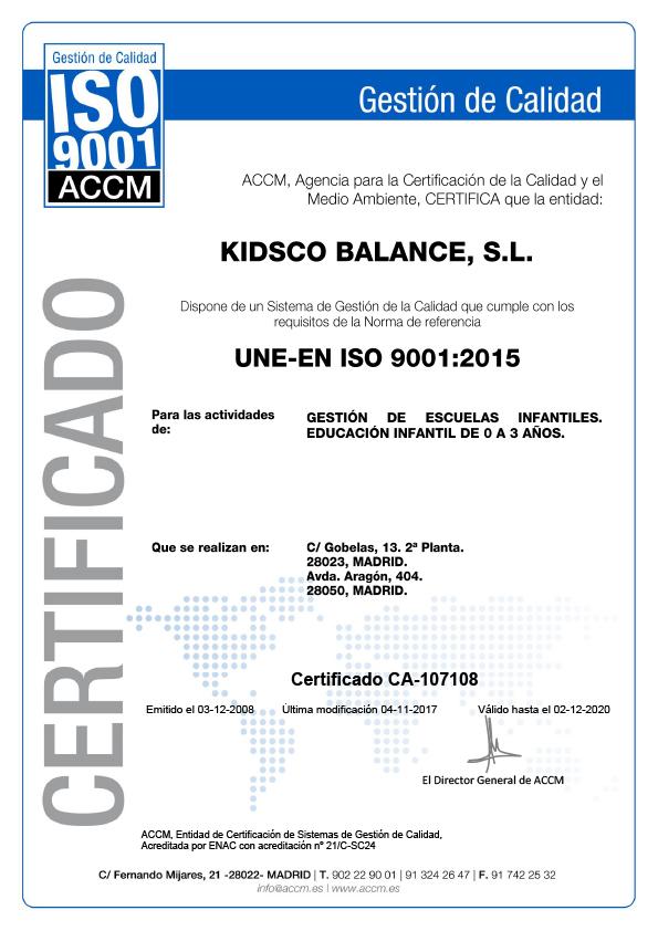 Kidsco - Certificado de Calidad ISO 9001