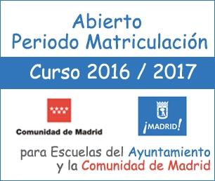 Periodo de matriculación escuelas de Madrid